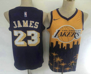 Men's Los Angeles Lakers #23 LeBron James Purple with Yellow Salute Nike Swingman Stitched NBA Jersey