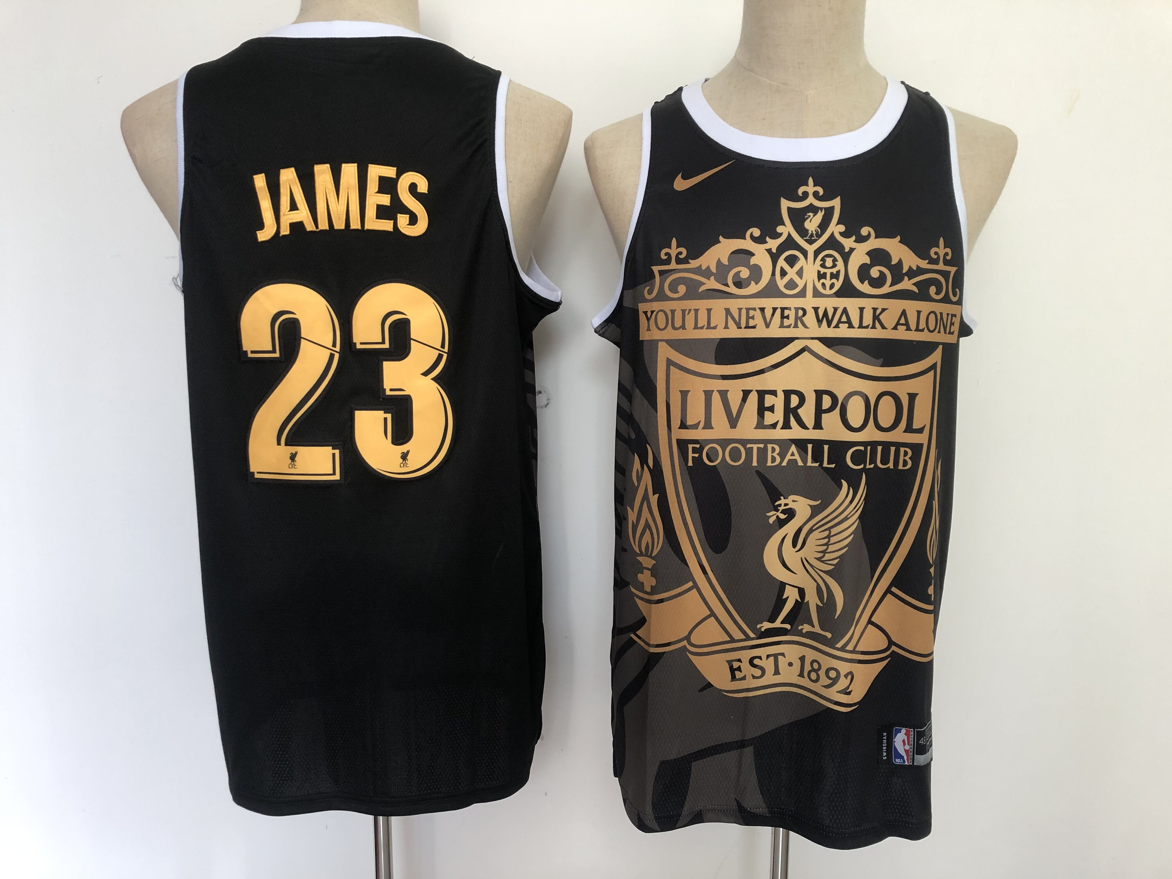 Men's Los Angeles Lakers #23 LeBron James Liverpool Black Golden Edition Nike Swingman Jersey
