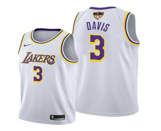 Men's Los Angeles Lakers #3 Anthony Davis 2020 White Finals Stitched NBA Jersey