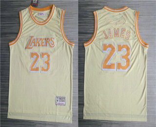 Men's Los Angeles Lakers #23 LeBron James Gold Hardwood Classics Soul Throwback Limited Jersey
