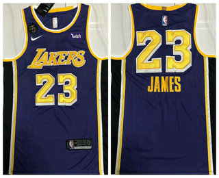 Men's Los Angeles Lakers #23 LeBron James Purple With KB Patch NEW 2021 Nike Wish AU Stitched NBA Jersey