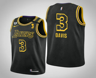 Men's Los Angeles Lakers #3 Anthony Davis 2020 NBA Finals Champions Tribute Kobe and Gianna Black Jersey
