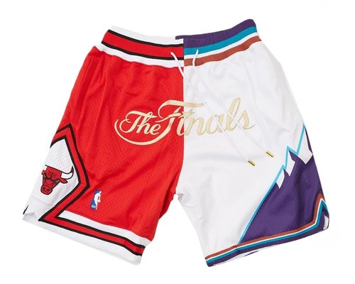 1997 NBA Finals Bulls x Jazz Shorts (Red-White) JUST DON By Mitchell & Ness