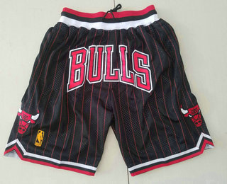 Chicago Bulls Black With Red Pinstripe 1997-98 Swingman Throwback Just Don Shorts