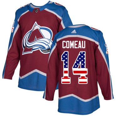 Adidas Avalanche #14 Blake Comeau Burgundy Home Authentic USA Flag Stitched NHL Jersey