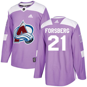 Adidas Avalanche #21 Peter Forsberg Purple Authentic Fights Cancer Stitched NHL Jersey