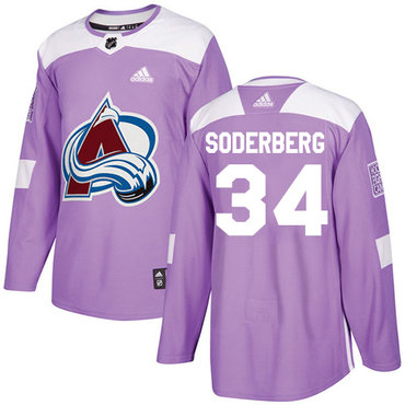 Adidas Avalanche #34 Carl Soderberg Purple Authentic Fights Cancer Stitched NHL Jersey