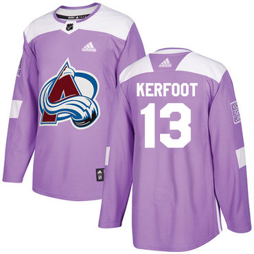 Adidas Avalanche #13 Alexander Kerfoot Purple Authentic Fights Cancer Stitched NHL Jersey
