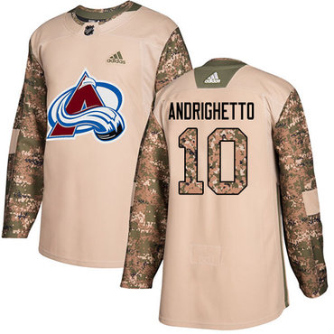 Adidas Avalanche #10 Sven Andrighetto Camo Authentic 2017 Veterans Day Stitched NHL Jersey