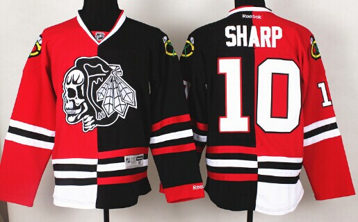Chicago Blackhawks #10 Patrick Sharp Red/Black Two Tone With Black Skulls Jersey