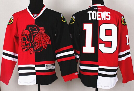 Chicago Blackhawks #19 Jonathan Toews Red/Black Two Tone With Red Skulls Jersey