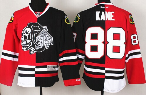 Chicago Blackhawks #88 Patrick Kane Red/Black Two Tone With Black Skulls Jersey
