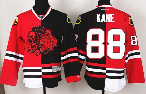 Chicago Blackhawks #88 Patrick Kane Red/Black Two Tone With Red Skulls Jersey
