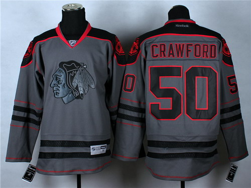 Chicago Blackhawks #50 Corey Crawford Charcoal Gray Jersey