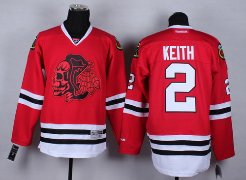 Chicago Blackhawks #2 Duncan Keith Red With Red Skulls Jersey