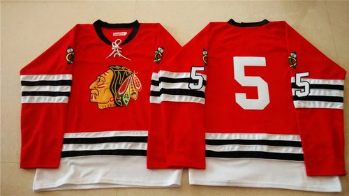 Chicago Blackhawks #5 David Rundblad 1960-61 Red Vintage Jersey