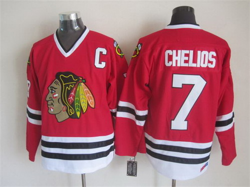 Chicago Blackhawks #7 Chris Chelios Red Throwback CCM Jersey