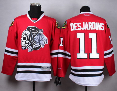 Chicago Blackhawks #11 Andrew Desjardins Red With Black Skulls Jersey