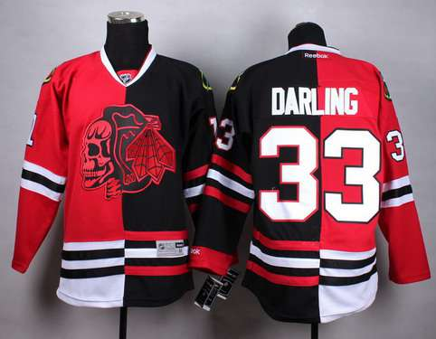 Chicago Blackhawks #33 Scott Darling Red Black Two Tone With Red Skulls Jersey
