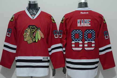 Chicago Blackhawks #88 Patrick Kane USA Flag Fashion Red Jersey