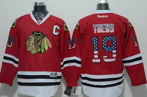 Chicago Blackhawks #19 Jonathan Toews USA Flag Fashion Red Jersey