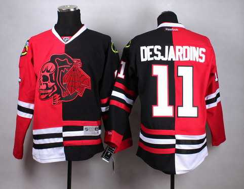 Chicago Blackhawks #11 Andrew Desjardins Red Black Two Tone With Red Skulls Jersey