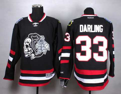 Chicago Blackhawks #33 Scott Darling 2014 Stadium Series Black With Black Skulls Jersey