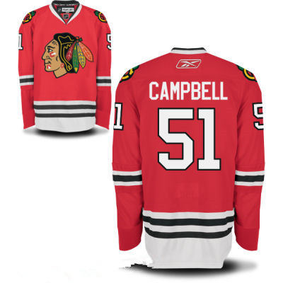 Mens Chicago Blackhawks #51 Brian Campbell Red Home Hockey Stitched NHL Jersey