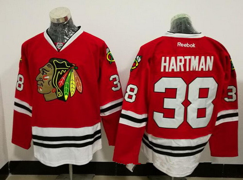 Men's Chicago Blackhawks #38 Ryan Hartman Red Stitched NHL Reebok Hockey Jersey