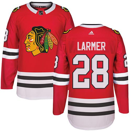 Adidas Chicago Blackhawks #28 Steve Larmer Red Home Authentic Stitched NHL Jersey