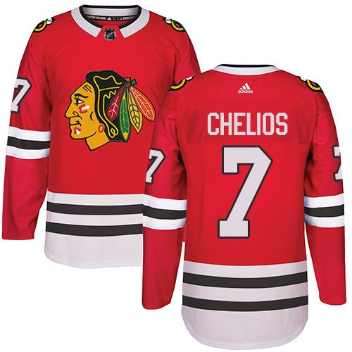 Adidas Chicago Blackhawks #7 Chris Chelios Red Home Authentic Stitched NHL Jersey