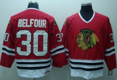 Chicago Blackhawks #30 Ed Belfour Red Throwback CCM Jersey