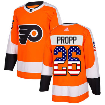 Adidas Flyers #26 Brian Propp Orange Home Authentic USA Flag Stitched NHL Jersey