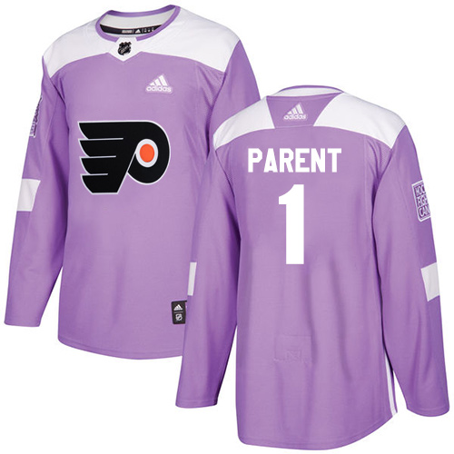 Adidas Flyers #1 Bernie Parent Purple Authentic Fights Cancer Stitched NHL Jersey