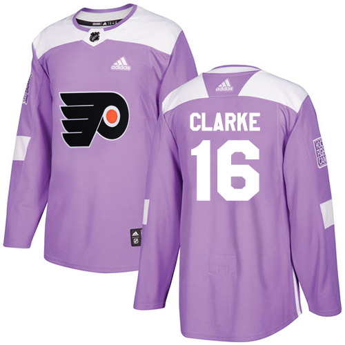 Adidas Flyers #16 Bobby Clarke Purple Authentic Fights Cancer Stitched NHL Jersey