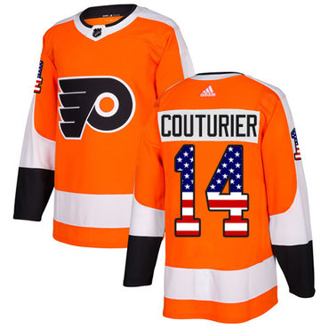 Adidas Flyers #14 Sean Couturier Orange Home Authentic USA Flag Stitched NHL Jersey