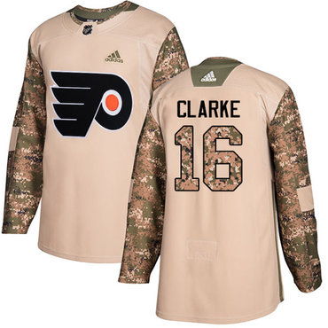 Adidas Flyers #16 Bobby Clarke Camo Authentic 2017 Veterans Day Stitched NHL Jersey