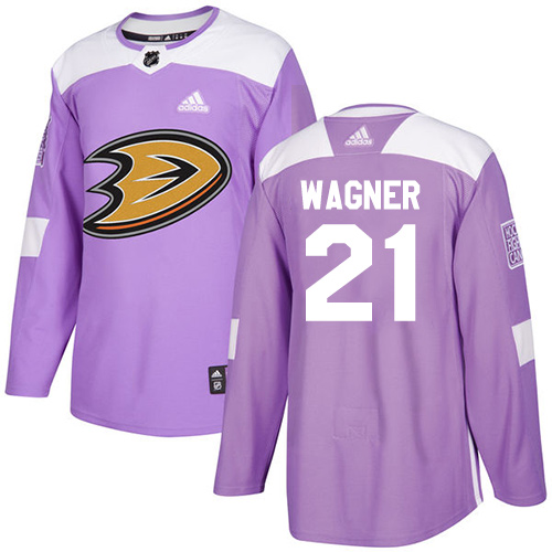 Adidas Ducks #21 Chris Wagner Purple Authentic Fights Cancer Stitched NHL Jersey