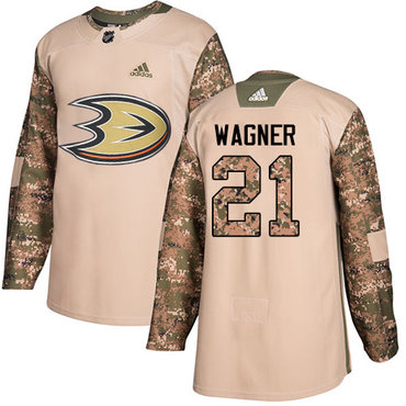 Adidas Ducks #21 Chris Wagner Camo Authentic 2017 Veterans Day Stitched NHL Jersey