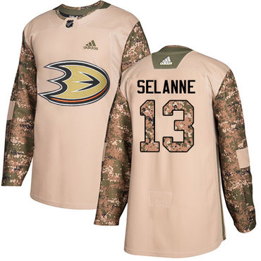 Adidas Ducks #13 Teemu Selanne Camo Authentic 2017 Veterans Day Stitched NHL Jersey