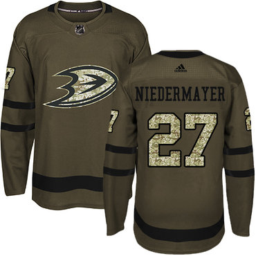 Adidas Ducks #27 Niedermayer Green Salute to Service Stitched NHL Jersey