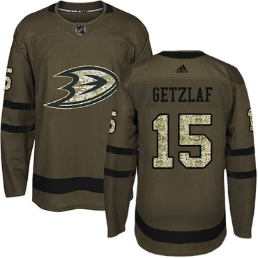 Adidas Ducks #15 Ryan Getzlaf Green Salute to Service Stitched NHL Jersey