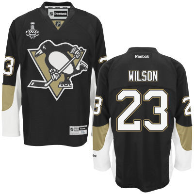 Youth Pittsburgh Penguins #23 Scott Wilson Black Home 2017 Stanley Cup NHL Finals Patch Jersey