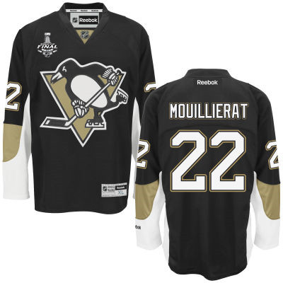 Youth Pittsburgh Penguins #22 Kael Mouillierat Black Home 2017 Stanley Cup NHL Finals Patch Jersey