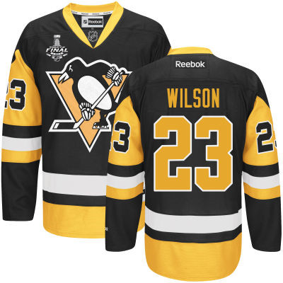 Youth Pittsburgh Penguins #23 Scott Wilson Black With Gold 2017 Stanley Cup NHL Finals Patch Jersey