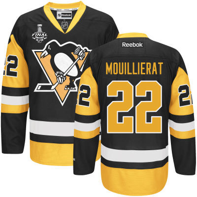Youth Pittsburgh Penguins #22 Kael Mouillierat Black With Gold 2017 Stanley Cup NHL Finals Patch Jersey