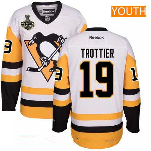 Youth Pittsburgh Penguins #19 Bryan Trottier White Third 2017 Stanley Cup Finals Patch Stitched NHL Reebok Hockey Jersey