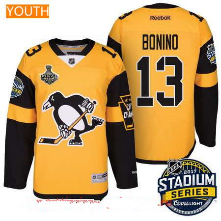 Youth Pittsburgh Penguins #13 Nick BoninoYellow Stadium Series 2017 Stanley Cup Finals Patch Stitched NHL Reebok Hockey Jersey