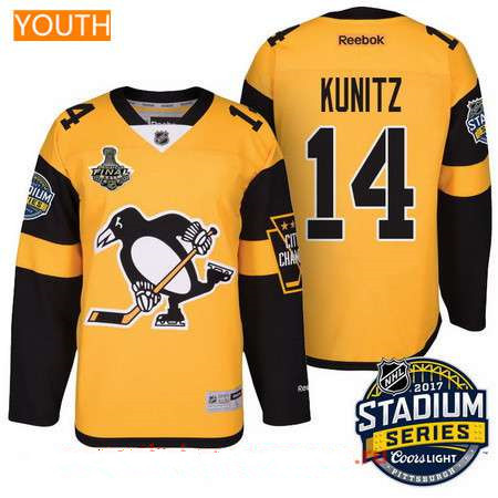 Youth Pittsburgh Penguins #14 Chris Kunitz Yellow Stadium Series 2017 Stanley Cup Finals Patch Stitched NHL Reebok Hockey Jersey