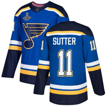 Blues #11 Brian Sutter Blue Home Authentic Stanley Cup Champions Stitched Hockey Jersey